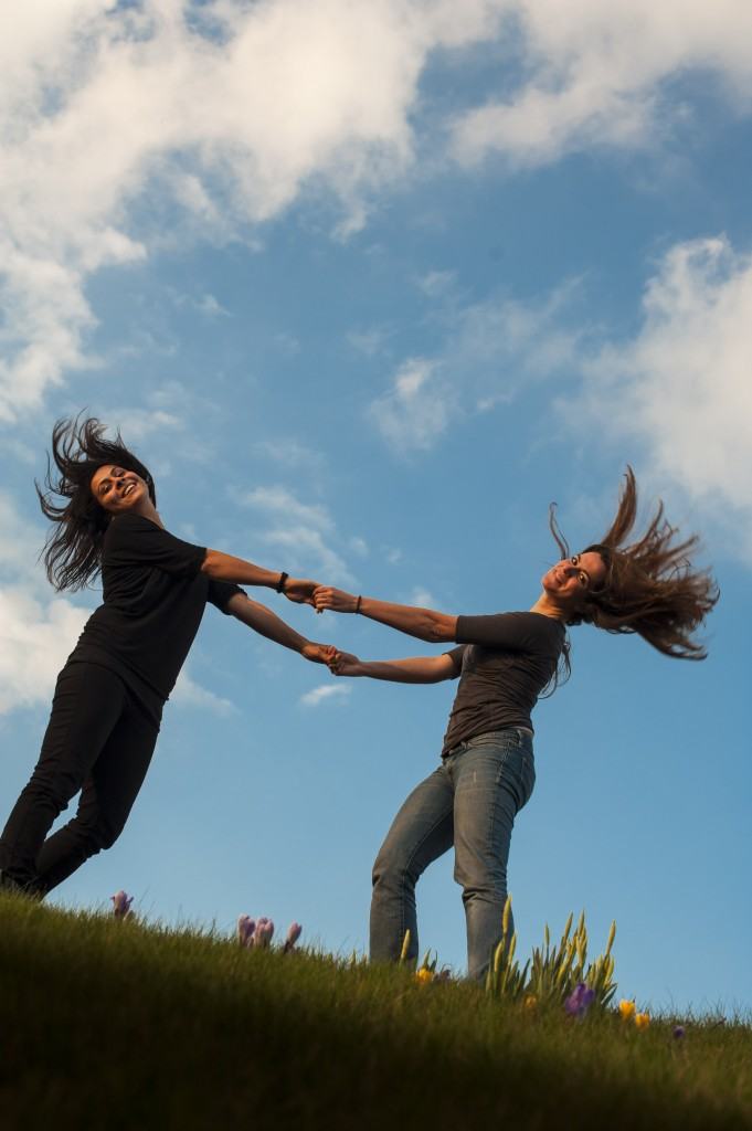 Meryem and Clara on the roof of CMS