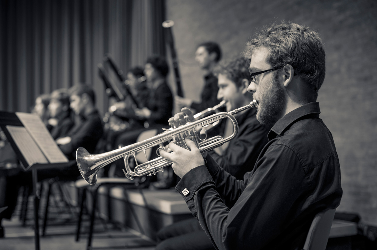 Tom Edinburgh playing the trumpet in West Road Concert Hall