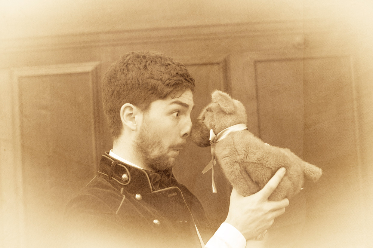 Jamie Armitage and a stuffed puppy