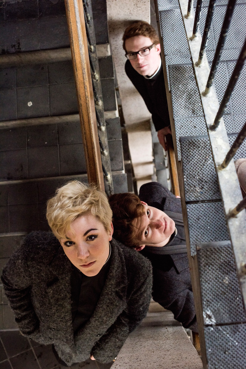 Heather Fantham, Sam Knights and Oli MacFarlane in the staircase