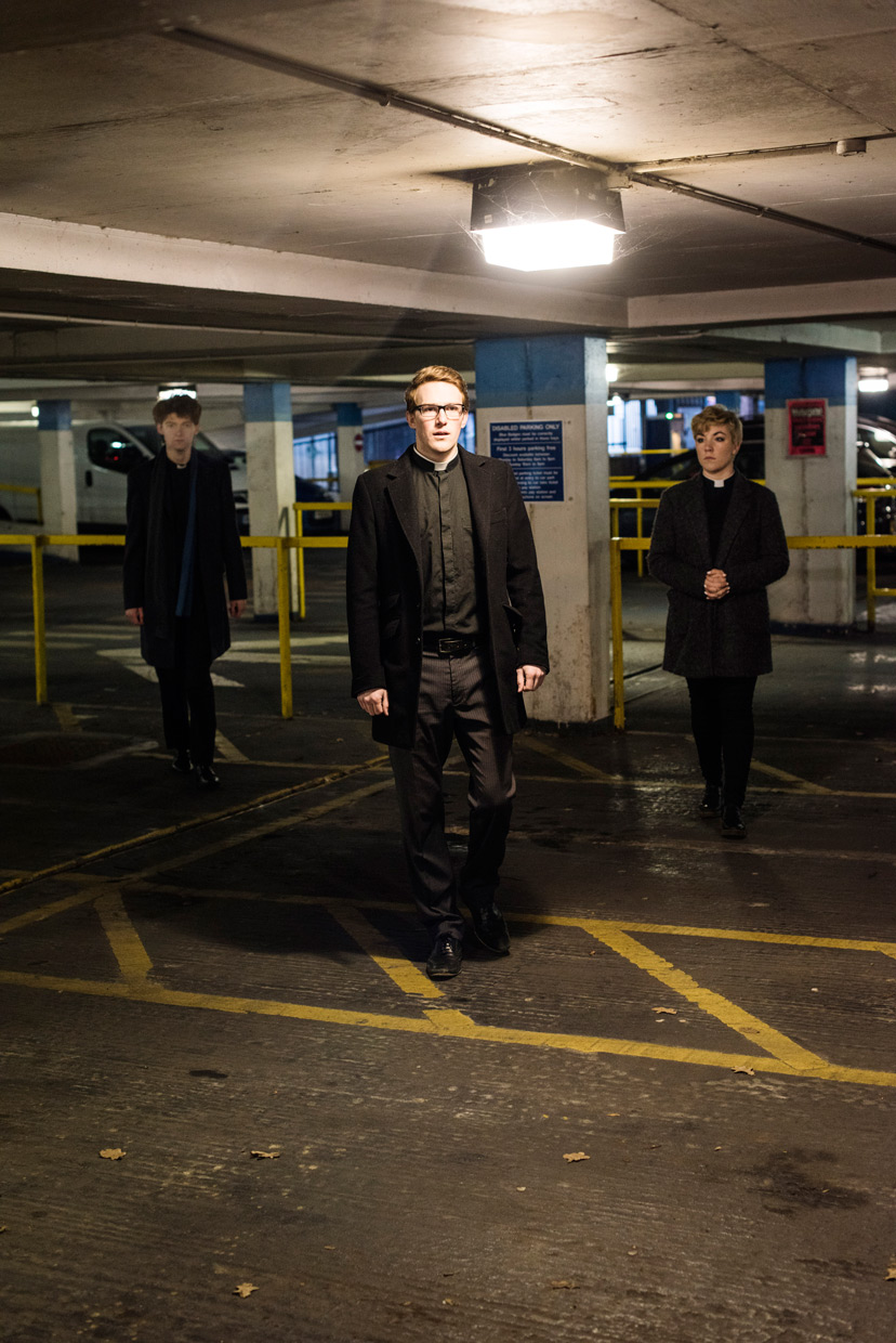 Sam Knights, Oli MacFarlane and Heather Fantham in a parking lot