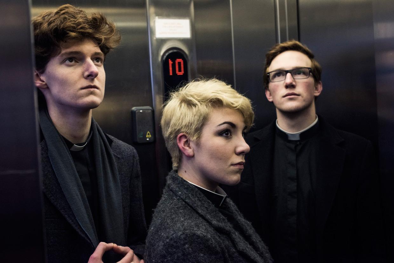 Sam Knights, Heather Fantham and Oli MacFarlane in the ADC elevator