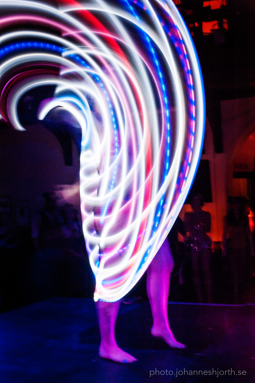 Long exposure time of illuminated hula hoops