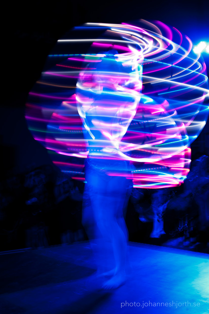 Long time exposure of hula hoops