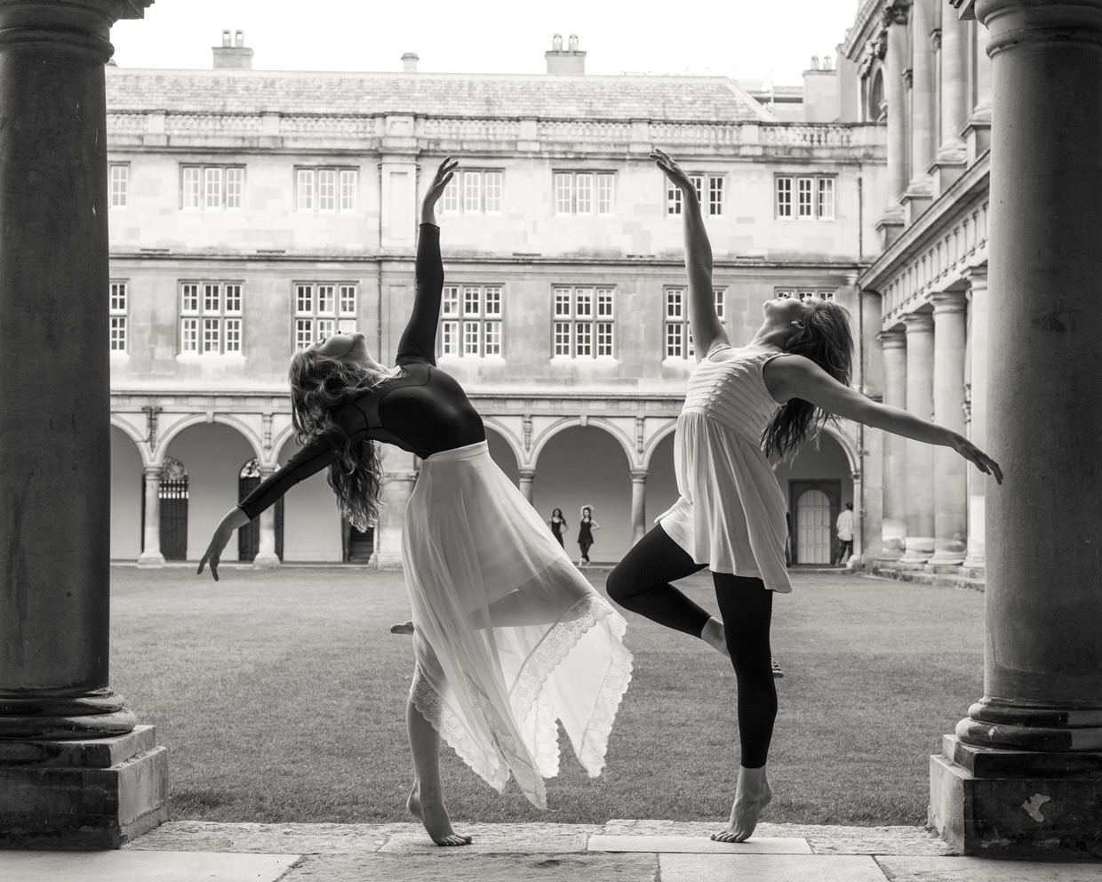 Hannah Copeland and Charlie Grieco dancing at Trinity College, Cambridge.