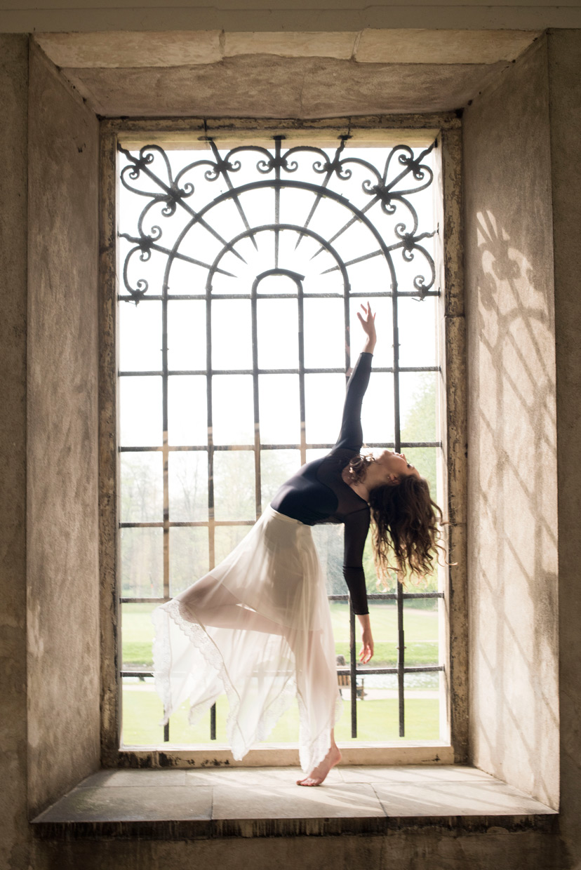 Hannah Copeland dancing at Trinity College, Cambridge.