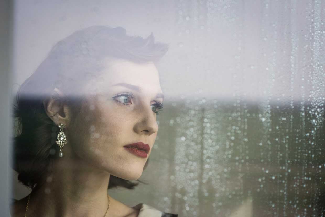 Hannah Taylor looking out of the window