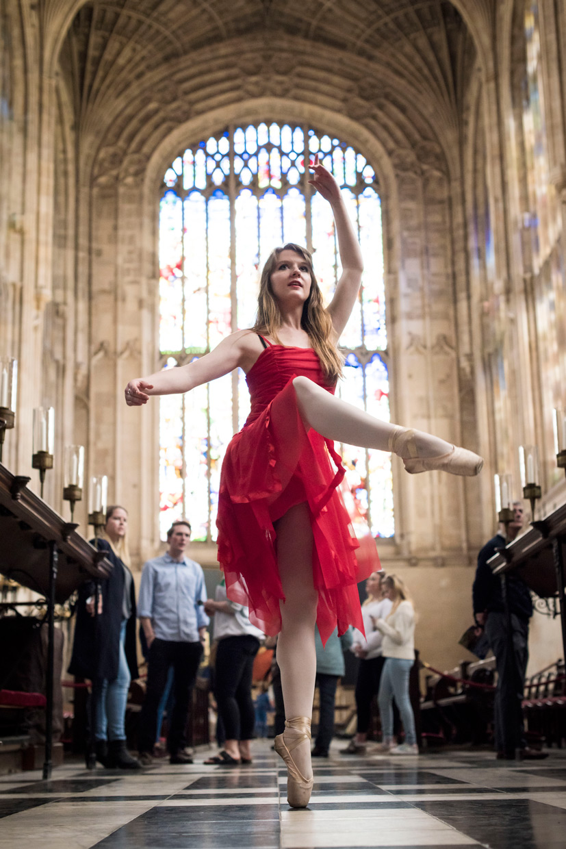 Naomi Grace on pointe in King's College Chapel.