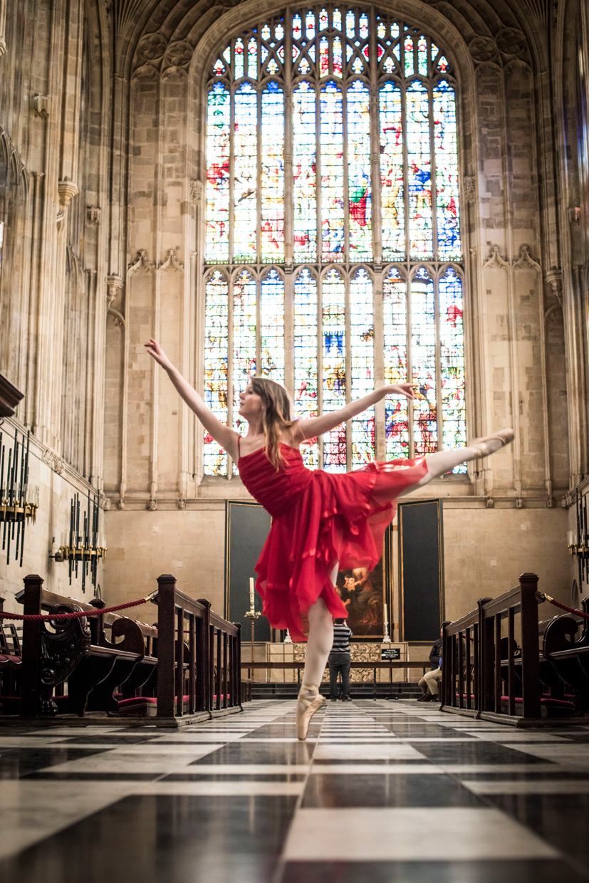 Naomi Grace arabesque in King's College Chapel.