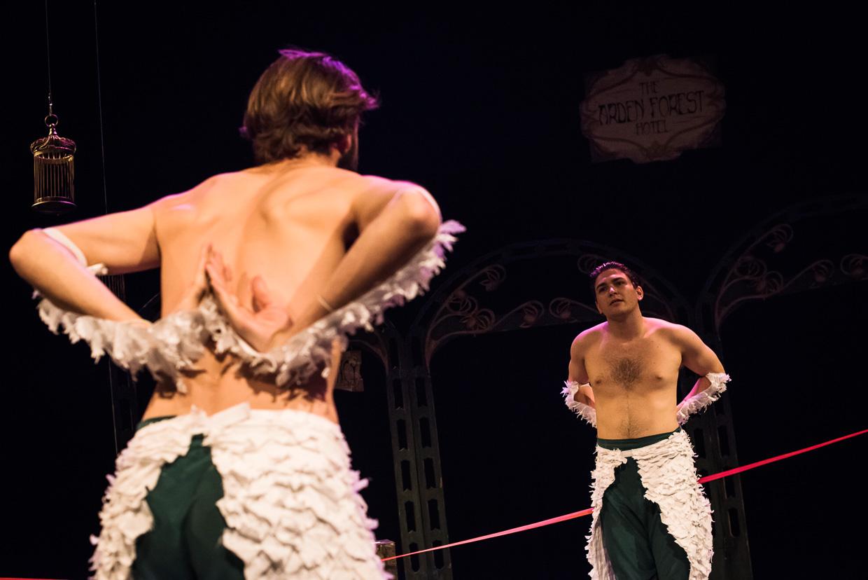 Bird choreographed fight scene between two men.