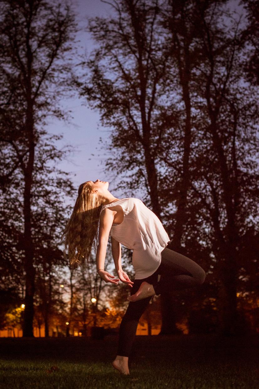 Harriet Neha Wright dancing at sunrise in Cambridge.