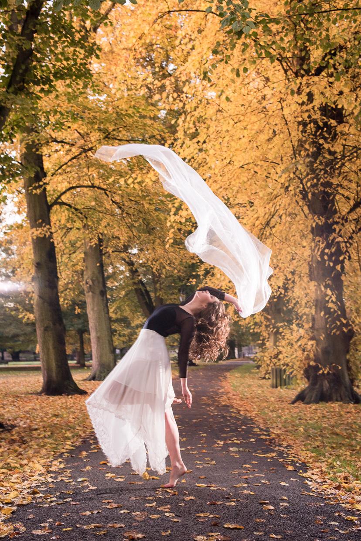 Beautiful autumn dance pose with Hannah Copeland.