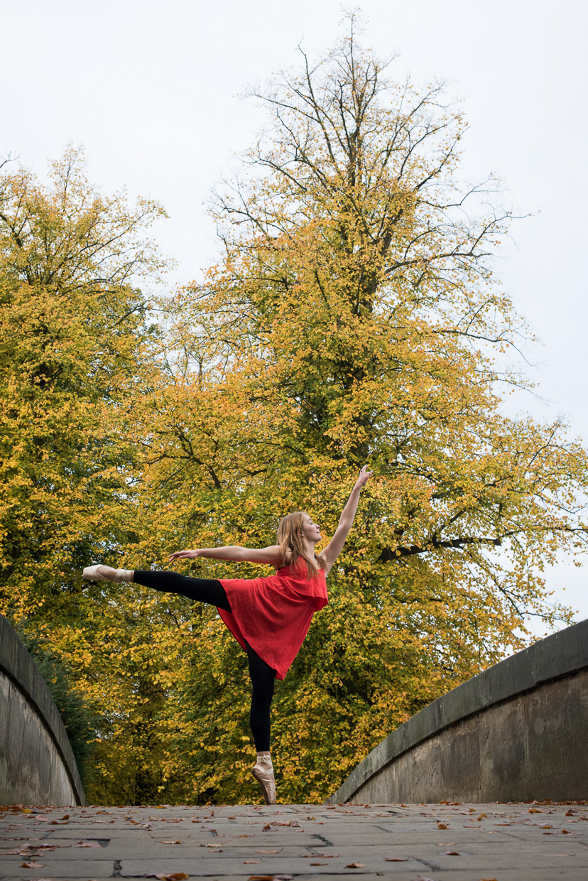Charlie Grieco dancing on King's College Bridge, Cambridge.