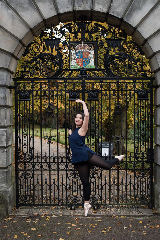 Rebecca Green outside King's College, Cambridge.