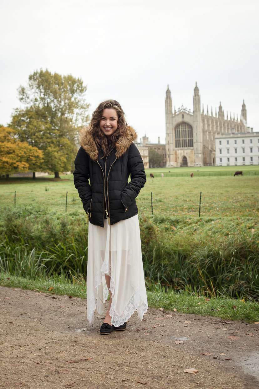 Hannah Copeland at King's College, Cambridge. Great smile.