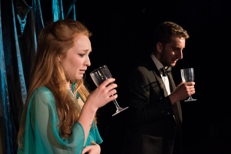 Tom Chamberlain and Eleanor Mack having a drink