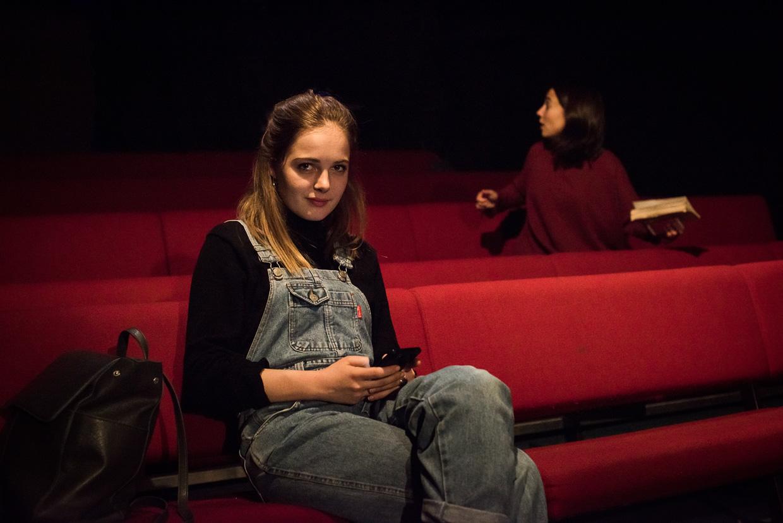 Kate Stevenson sitting in Corpus Playroom