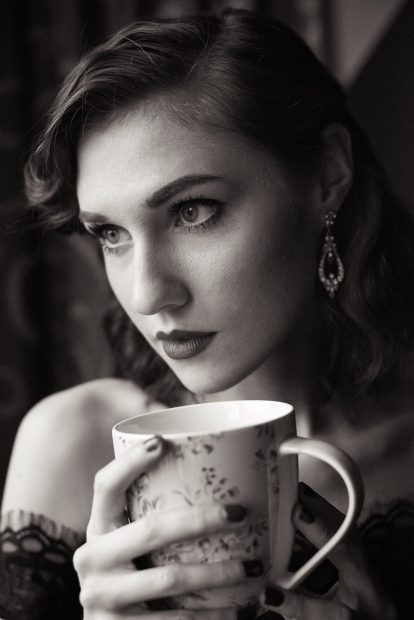 Portrait of Hannah Grace Taylor drinking tea