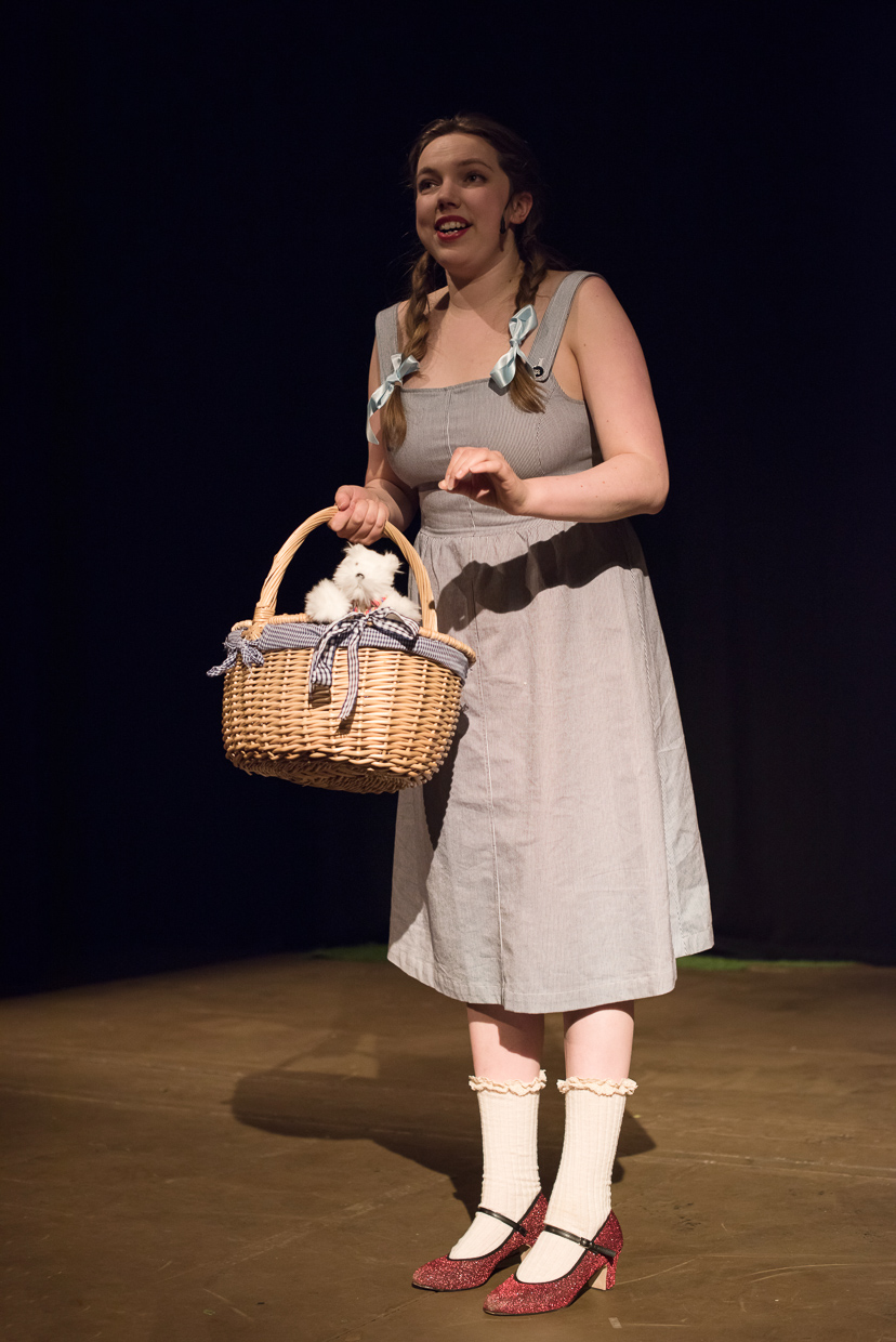Woman in a grey dress and braids carrying a basket with a stuffed animal.