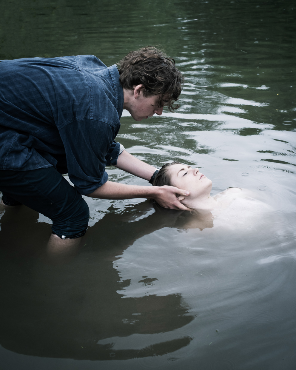 Joe and Laura in the water
