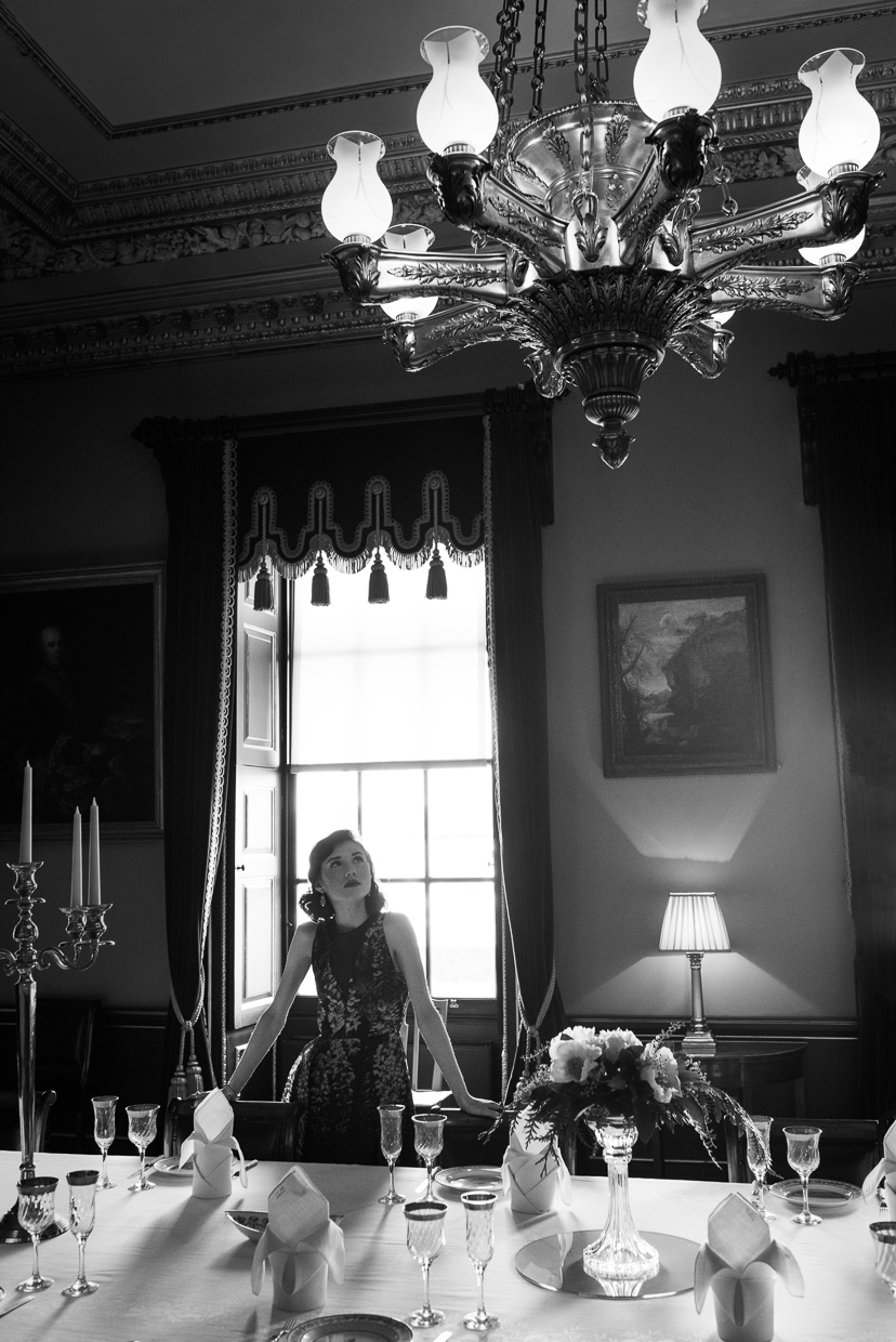 Black and white photo of Hannah Taylor in the main dining hall