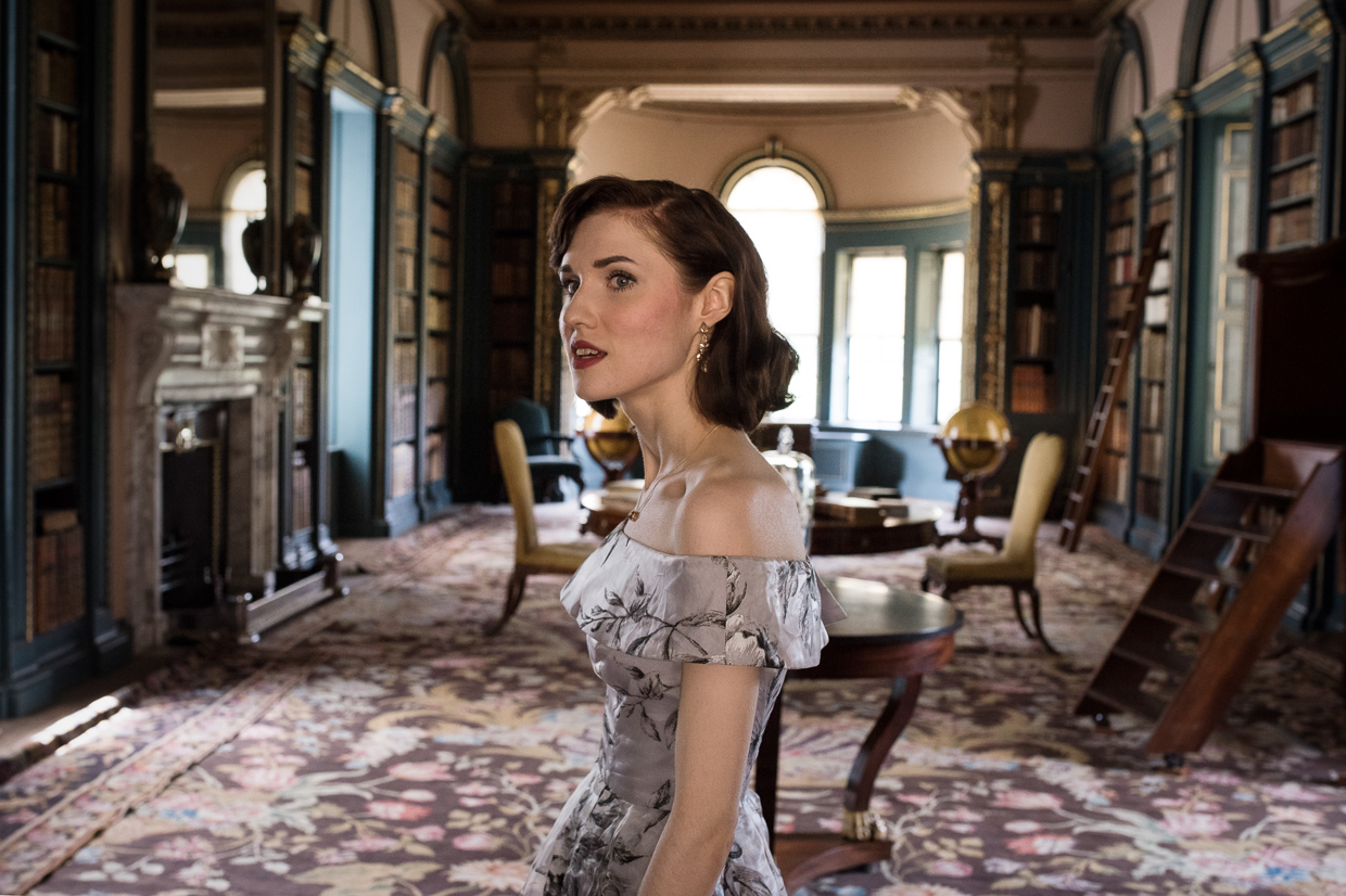 Hannah Grace Taylor in the old library at Wimpole Estate