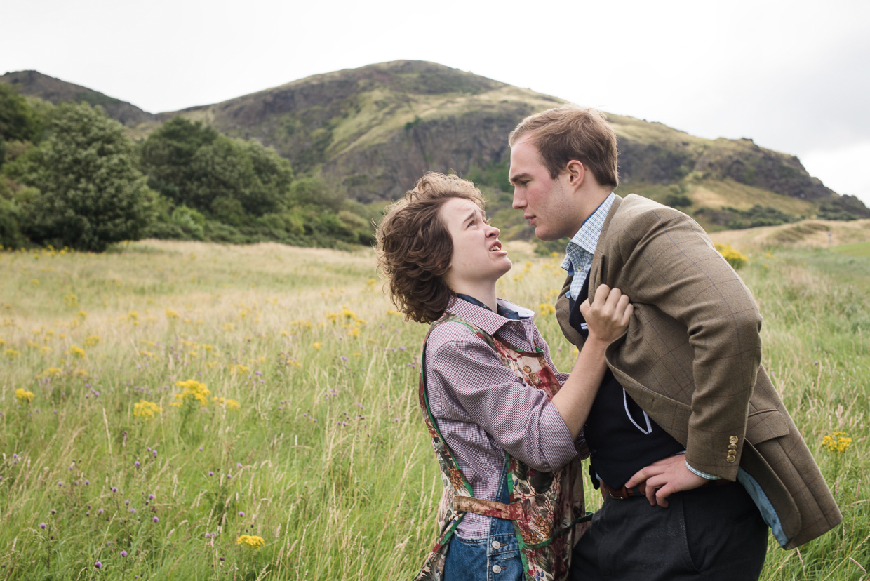 Natalie Reeve and Jack Bolton playing husband and wife on the slopes of Arthur's Seat.