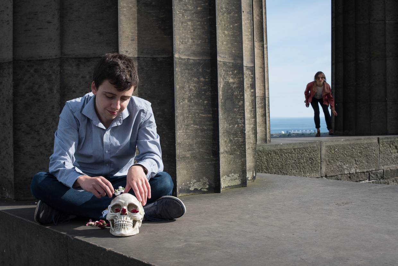 Matt playing with a human skull.