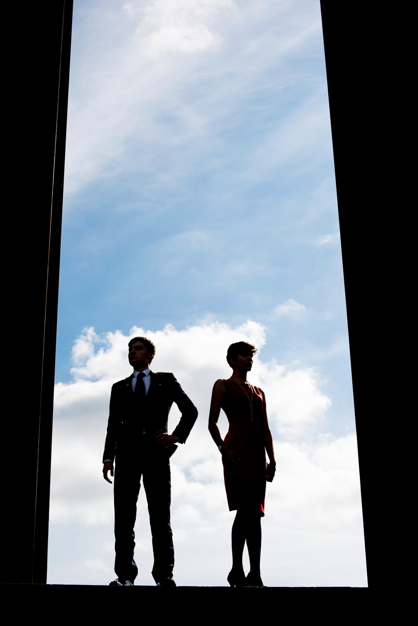 Silhouette photo of Seth Kruger and Xelia Mendes-Jones at the National Monument of Scotland.