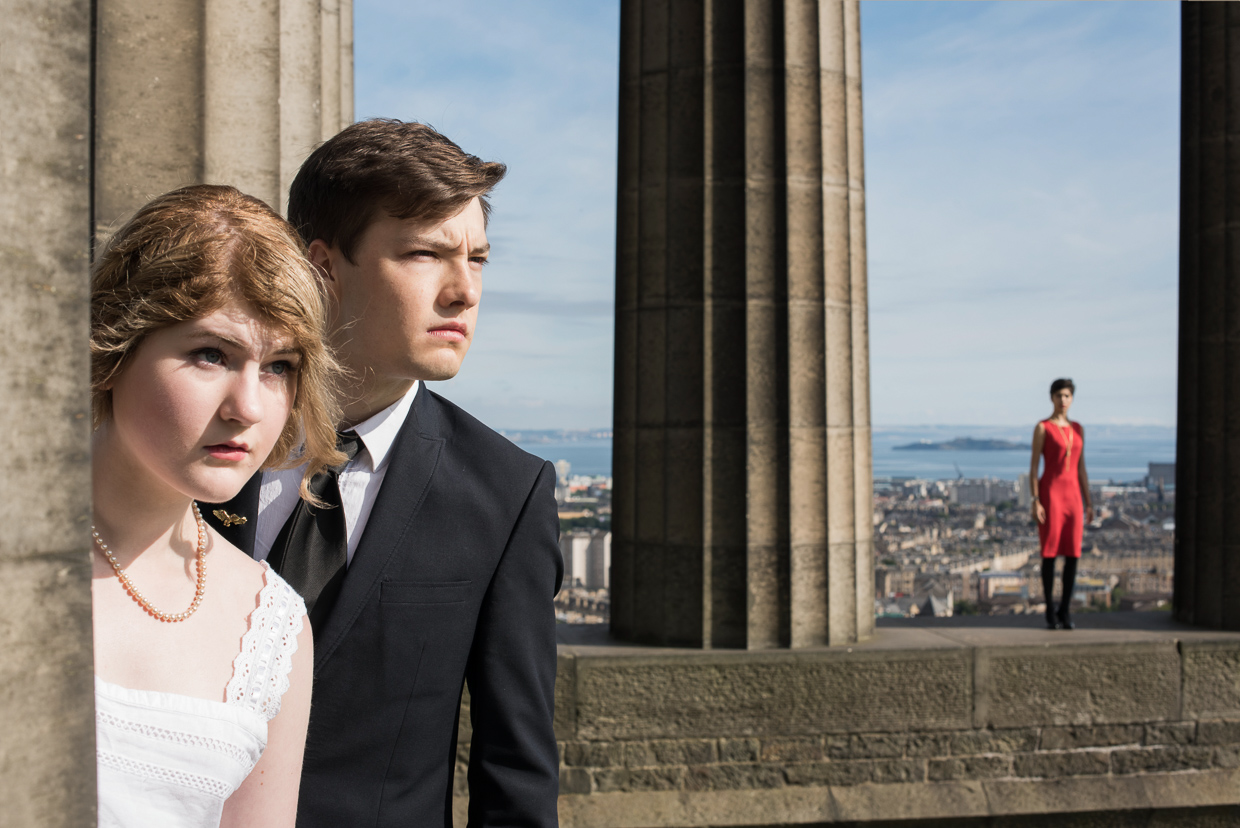 Hettie Blohm and Seth Kruger at the National Monument of Scotland.