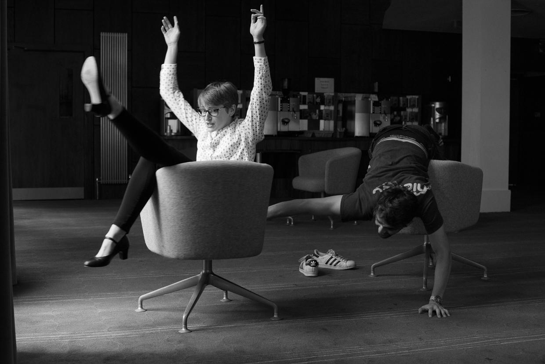 Jack spinning Ashleigh's chair round.