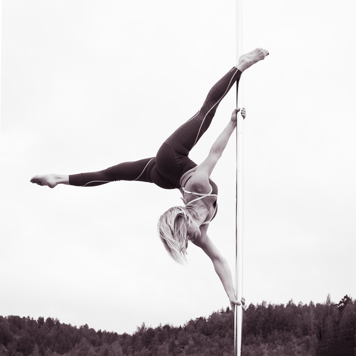 Therese Larsson doing an extended butterfly on the pole dancing pole.