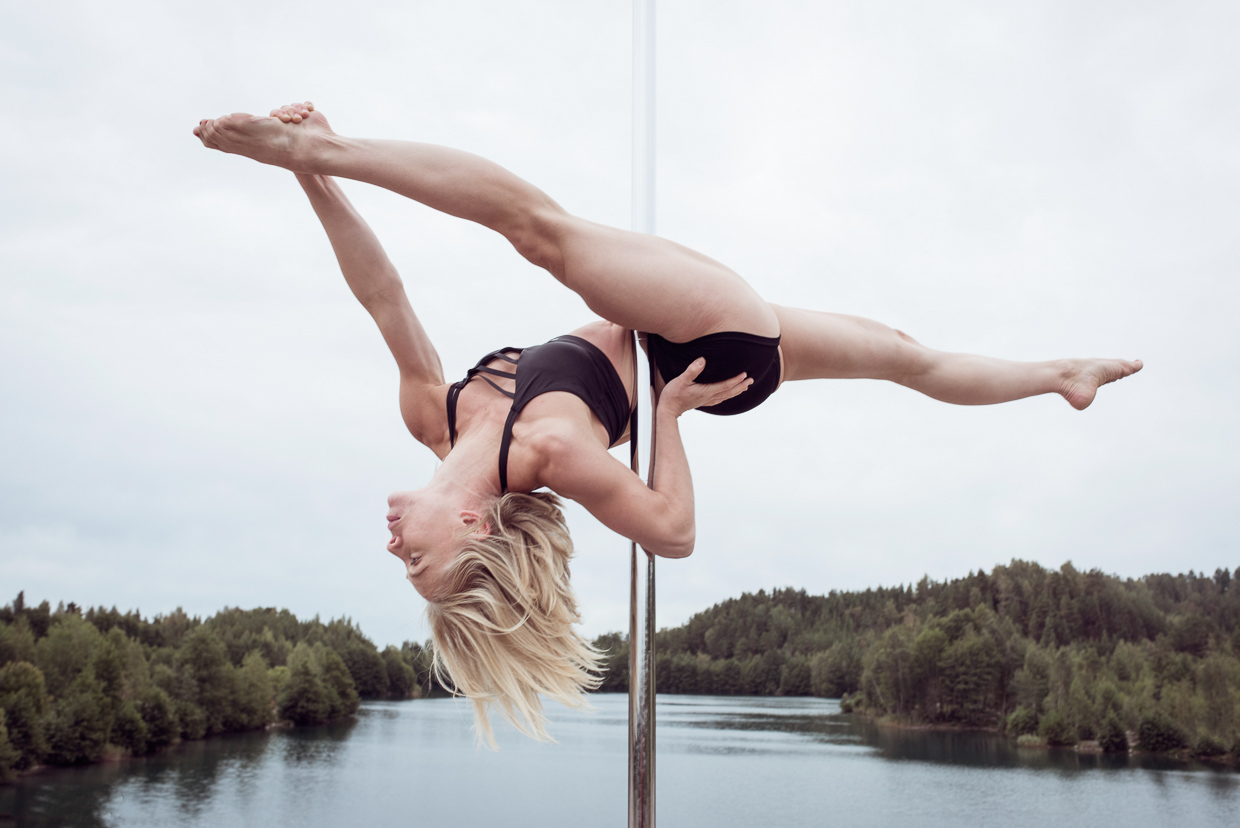 Therese Larsson pole dancing at the Blue Lagoon.