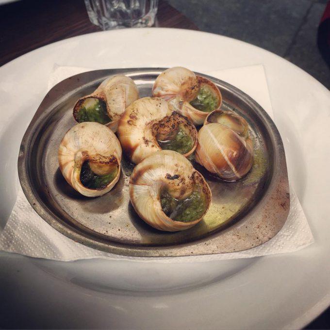 Eating escargot in Paris