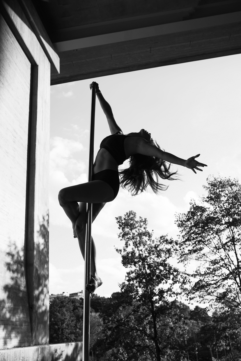 Silhouette photo of Alexandra Mellin pole dancing