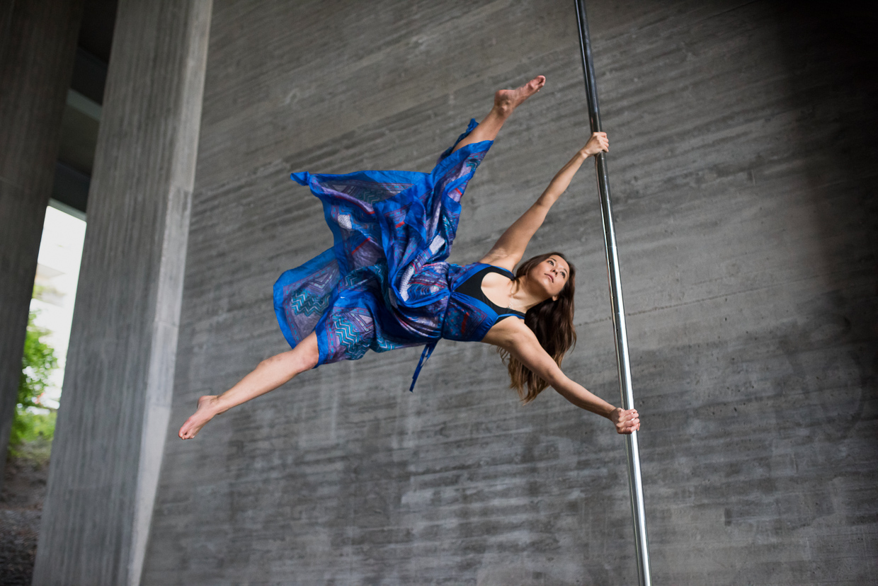 Alexandra Mellin pole dancing in beautiful blue dress