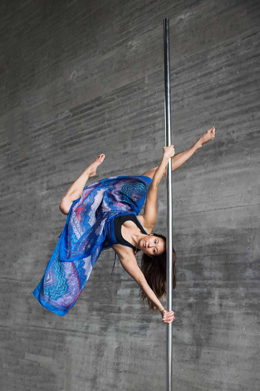 Alexandra Mellin on a pole dancing pole
