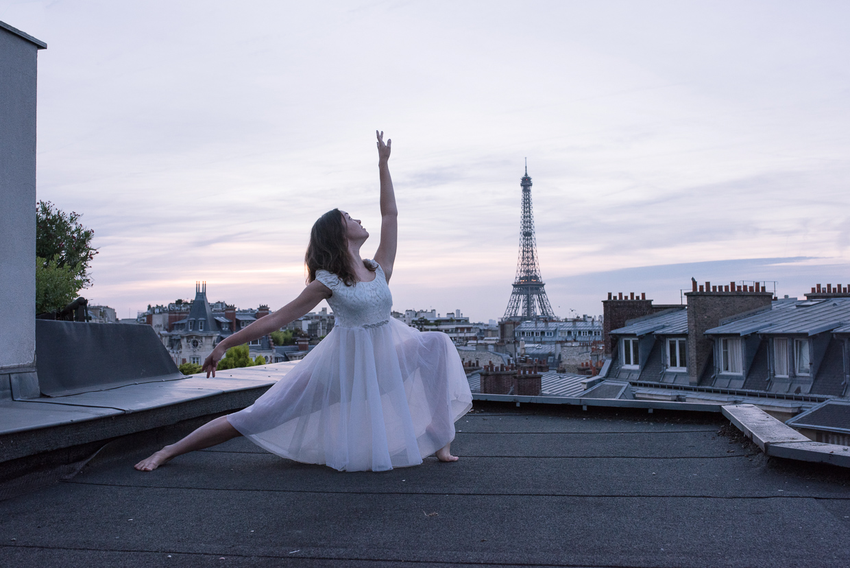 Annie Magee on roof in Paris