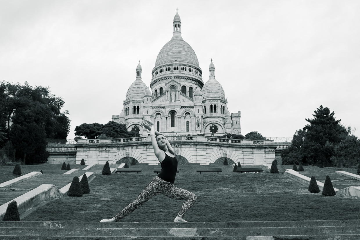 Annie Magee in a ballet pose with Sacré-Cœur in the background