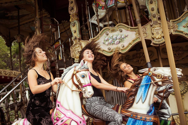 Riding a carousel in Paris