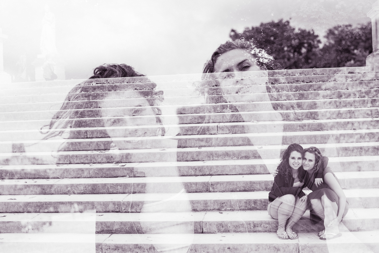 Double exposure of Genevieve and Lucy McMahon